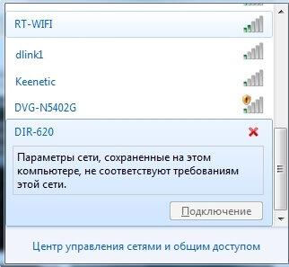 ошибка Параметры сети не соответствуют требованиям этой сети